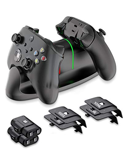 KINVOCA Controller Charger Station for Xbox Series X S, Dual Charging Station Compatible with Xbox One One X One S Elite Controllers,2x1100mAh Rechargeable Battery Packs Included, UL Certified - Black