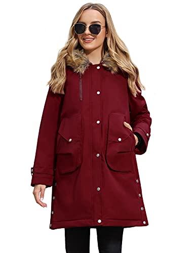 Maternity Winter Warm Zipper Up Hooded Fleece Lined Jackets Parka Fur Coat Wine M