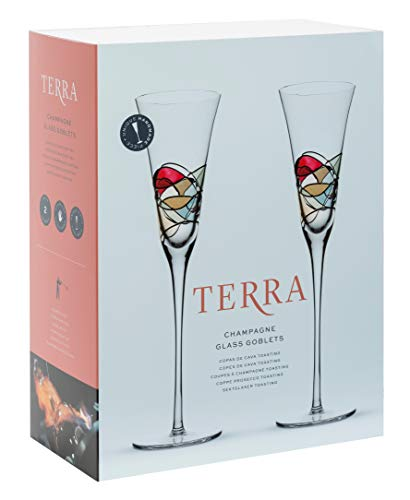 ART ESCUDELLERS Handcrafted Champagne Glass Flutes Set of 2 for Men, Woman, Party, Wedding, Birthday. Terra Collection