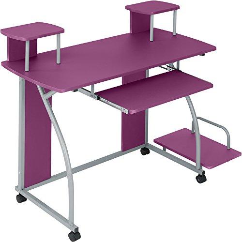 TecTake Mesa de Ordenador de Escritorio Juvenil Estudiante PC Trabajo Muebles | Púrpura