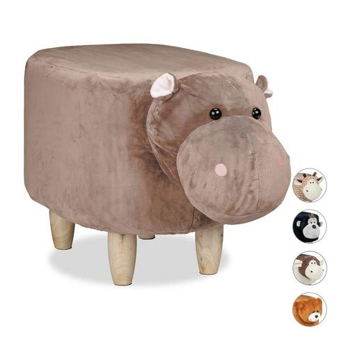 Relaxdays Tierhocker Nilpferd, für Kinder, gepolstert, niedlicher Dekohocker mit Tiermotiv, aus Holz, Schonbezug, braun, H x B x T: ca. 35 x 32 x 40 cm