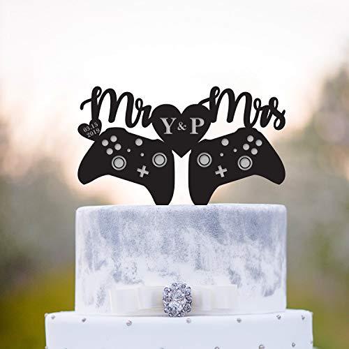 Gamer Cake Topper Xbox Cake Topper Gamer Wedding Cake Topper Initial Cake Topper Video Game Wedding Topper Game Controller Cake Topper