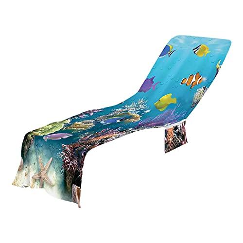 Cubierta de silla de salón de playa, 73x21 0CM Superfina fibra sol salón sillón cubierta de playa toalla holiday jardín piscina baño toalla para silla perezosa con bolsillos Playa Lounge sillón cubier