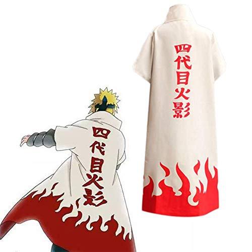 GGOODD 6 Hokage Mantel Namikaze Minato Cosplay Costume Anime Naruto Halloween Hokage Weißer Stehkragenmantel Mit Reißverschluss,Weiß,M