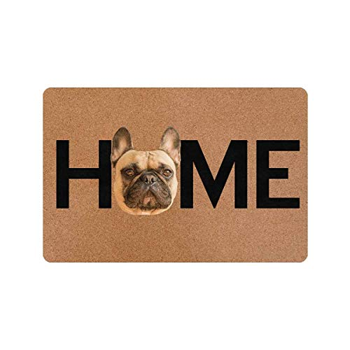 MyPhotoSwimsuits Funny Doormat 24' X 16' Indoor Outdoor with French Bulldogs Custom Dog Face Home Entrance Door Mat Rug Decor