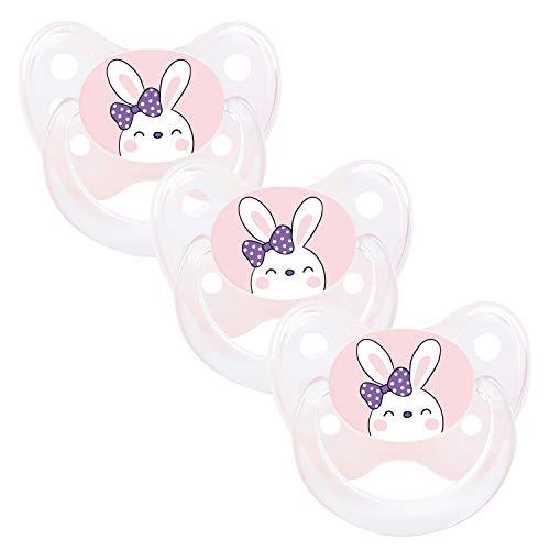 DENTISTAR® Schnuller 3er Set - Silikon Nuckel in Gr. 1 von Geburt an, 0-6 Monate - zahnfreundlich & kiefergerecht - Beruhigungssauger für Babys - Made in Germany - BPA frei - Hase rosa
