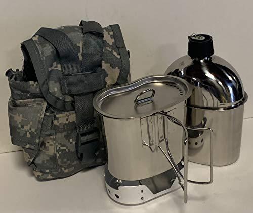 BISOY Estilo G.I. 1 cuarto de galón de acero inoxidable comedor con taza y tapa ventilada con nueva estufa (ALUMINUM) plegable, y cubierta de emisión excedente G.I. (ACU MOLLE II)