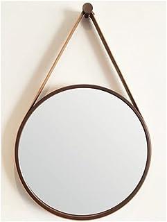 Espelho Emoldurado Redondo Decorativo com Alça - Cor Marrom