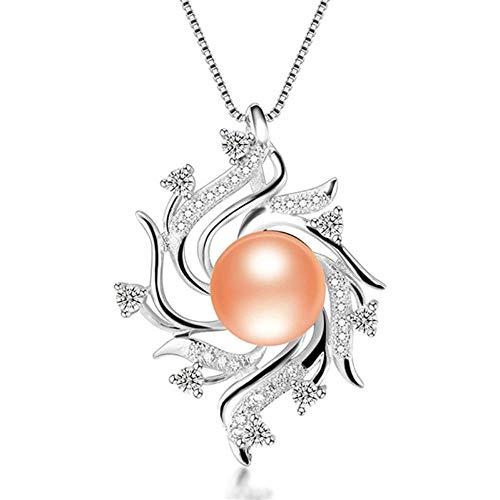 LFNSTXT Collar Bohemio100% Colgantes De Perlas Naturales 45Cm-Rosa_9-10Mm
