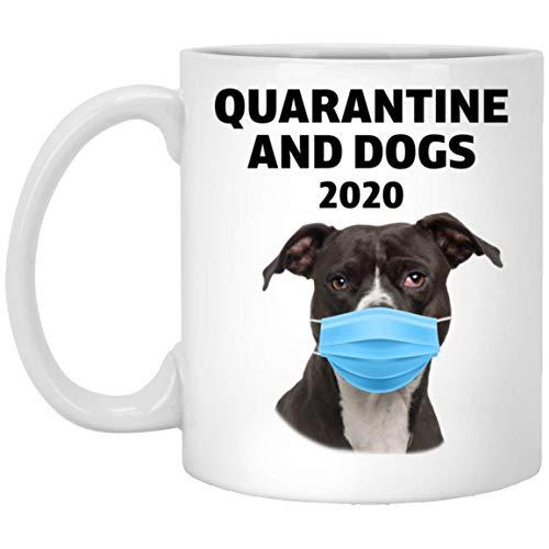 N\A Funny Quarantine 2020 y American Pit Bull Terrier marrón Oscuro Taza de café Blanca de 11 oz