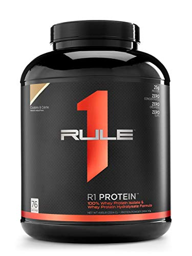 R1 Protein Whey Isolate/Hydrolysate, Rule 1 Proteins (76 Servings, Cookies and Creme)