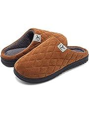 VIFUUR män Memory Foam tofflor High Density Warm Indoor Outdoor Wool-Like plyschfoder halkfri gummisula belägg på skor