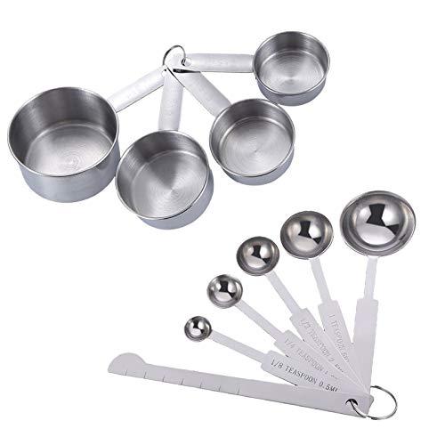 Cocina Para Hornear Con Metal Medición Cuchara Taza Taza Medidora De Acero Inoxidable Metal Herramienta Cuchara Medidora De Acero Inoxidable Metal Herramienta Para Mide Alimentos Secos y Líquidos 10P