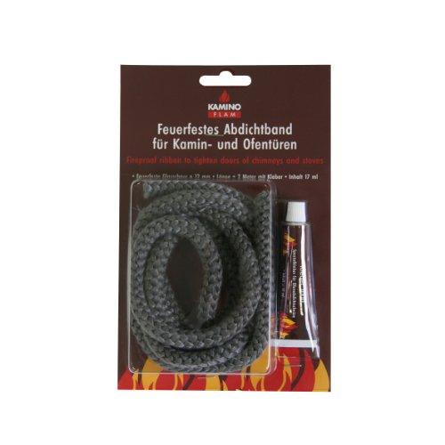 Kamino-Flam Glasstrickschnur 333212, feuerfestes Abdichtband mit Kleber zur Befestigung, Band für Kamin- und Öfentüren, produziert aus asbestfreiem Material, Kleber und Schnur sind dauertemperaturbeständig bis 550°C, ca. Ø 1,2 x 200 cm