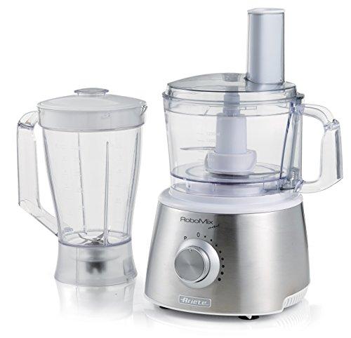 Ariete 1779 Robomix Metal - Robot da cucina multifunzione, Capacità tazza 2,1L, Set accessori per tritare, affettare, montare, impastare, emulsionare, Blender 1,75L, Bianco Argento