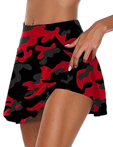 LaiYuTing Gimnasio Mujer Pantalones Cortos para Correr Falda De Cintura Alta Pantalones Cortos Nuevos Pantalones Cortos Deportivos De Retales con Estampado De Doble Capa Falda Corta Deportiva