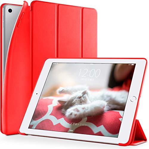 『DTTO iPad Mini 3/2/1 ケース 超薄型 超軽量 TPU ソフト PUレザー スマートカバー 三つ折り スタンド スマートキーボード対応 キズ防止 指紋防止 オートスリープ スリープ解除 アップルレッド』の1枚目の画像