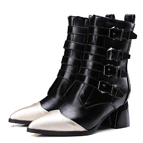 JUNSHANG Botas de Vaquero Occidental para Mujer, Botas de Mujer de tacón Largo de tacón Largo, Botas de Moda adecuadas para otoño y Primavera,Black- 37