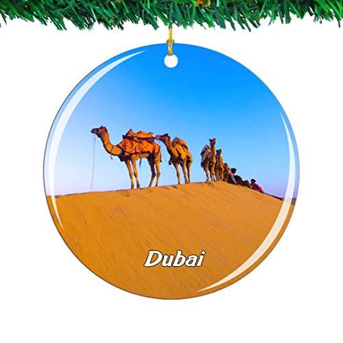 Weekino Emiratos Árabes Unidos Camello del Desierto Dubai Navidad Ornamento Ciudad Viajar Recuerdo Colección Doble Cara Porcelana 2.85 Pulgadas Decoración de árbol Colgante
