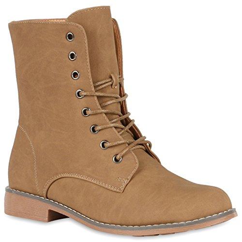 Stiefelparadies Damen Schnürstiefeletten Boots Camouflage Stiefeletten Leder-Optik Schnür Übergrößen Schuhe 119317 Khaki Brooklyn 38 Flandell