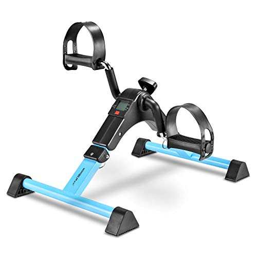 Under Desk Bike Pedal Exerciser, Foldable Mini Exercise Bike Equipment with Electronic Display for Legs and Arms Workout (Aqua)