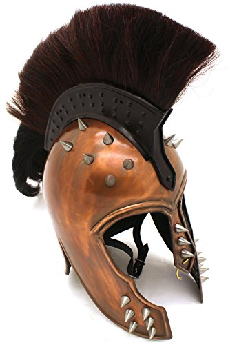 Medieval Warrior Spartan Helmet King Leonidas Helmet Wearable for Adults Black Plume. (B.Spikes)