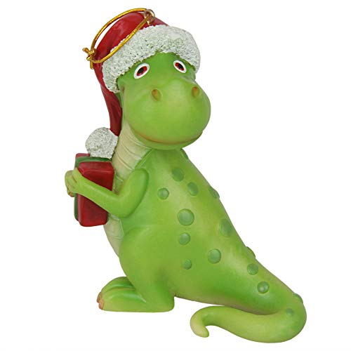 CCOQUS T Rex Dinosaur Figurine Christmas Tree Hanging Ornament -Tyrannosaurus Rex with Gift 4.5inch