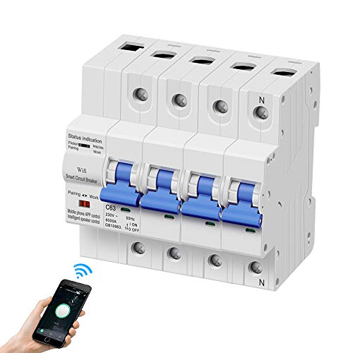 eMylo Smart WiFi Leistungsschalter 4P 63A 380-400V Miniaturschalter Schalter Automatische Wiedereinschaltung Überlastschutz Drahtlose Fernbedienung Zeitverzögerung Funktionsunterstützung Alexa/Echo