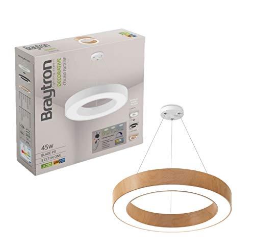 Lámpara LED de techo Blade PD, 45 W, redonda, madera, con mando a distancia