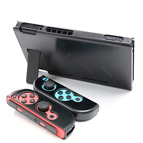Hosoncovy Aluminium Protective Case Cover Protector Grip Protective Case with Desktop Stand Bracket for Nintendo Switch (Black)