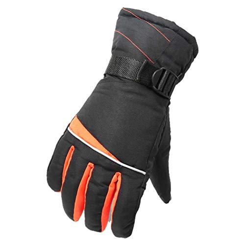 MISS&YG Männer Taslan Handschuhe warm Skitouren Handschuhe im Winter,OrangeRed,OneSize