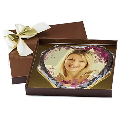 Schokoladenherz groß - 360g pures Schokoladenglück - zum selbst personalisieren mit Ihrem Foto auf feine weiße belgische Schokolade gedruckt und einem zartbitter Schokoladenrahmen