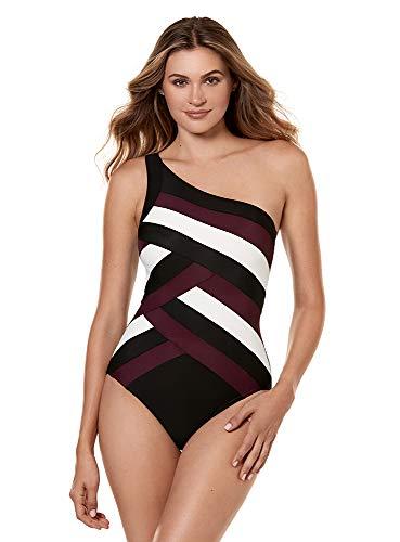 Miraclesuit Women's Swimwear Spectra Matrix Asymmetrical Neckline Underwire Bra Tummy Control One Piece Swimsuit, Black, 12