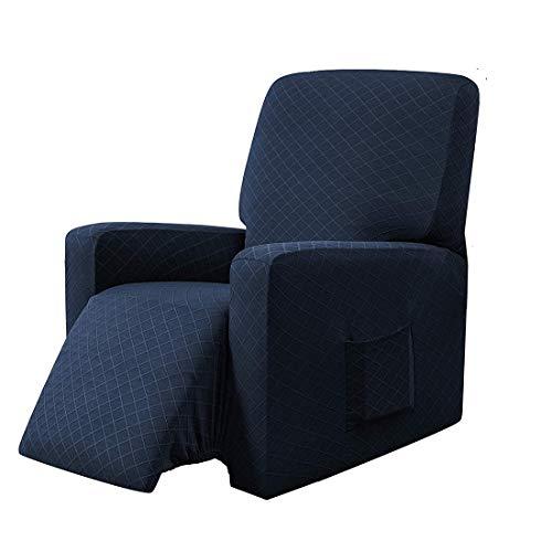 E EBETA Copripoltrona Fodera per Poltrona, Coprisedile Chivas Poltrona Reclinabile Relax Completo Elasticizzato con Tasche (Blu)