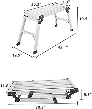 LUISLADDERS Step Ladder Aluminum Work Platform Ladder Drywall Bench Heavy Duty Portable Work Platform Extra-Large Folding Ste