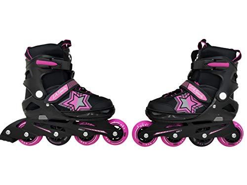 L.A. Sports Inliner Skate Soft Kinder Jugend Damen Größenverstellung 5 Größen verstellbar (29-33, Stars pink)