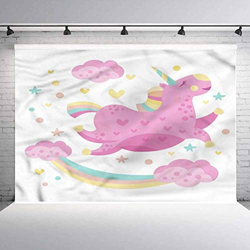 7x7FT Vinyl Photo Backdrops,Girls,Unicorn with Star Rainbow Background for Graduation Prom Dance Decor Photo Booth Studio Prop Banner