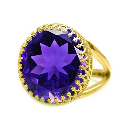 JewelryGift Natural Purple Amethyst Faceted Round Shape 18K Gold Plated Gemstone Rings Fashion Jewelry Rings for Mens Womens-Z