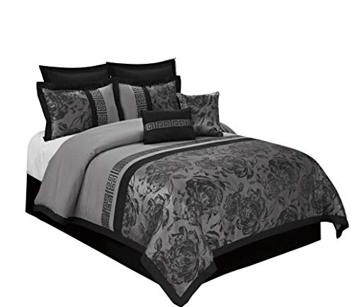 BEDnLINENS 8 Piece Comforter Set -Gray Jacquard Fabric Patchwork-Tang Bed in A Bag Cal.King Size- Soft Texture,Smooth,Good Drapability-1 Comforter,2 Shams,2 Euro Shams,2 Decorative Pillows,1 Bedskirt