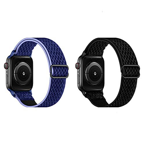 2 correas de reloj de pulsera de nailon trenzadas ajustables y elásticas, compatibles con iWatch para Apple Watch Band de 44 mm, 42 mm, 40 mm, 38 mm, 38mm;40mm, Nailon Metal, Sin piedras preciosas,