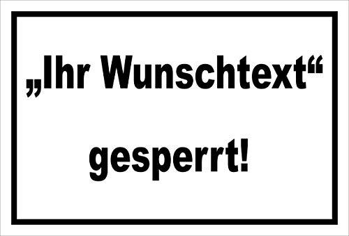 Melis Folienwerkstatt Schild Wunschtext gesperrt - 15x10cm - 3mm Aluverbund – 20 VAR S00100-018-A