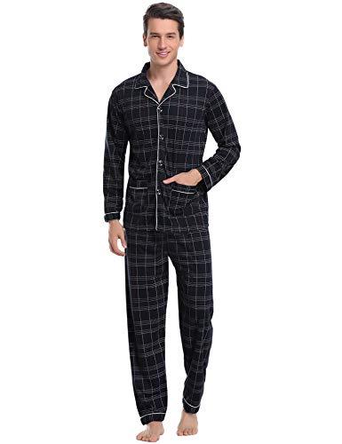 Aibrou Herren Baumwolle Pyjama Set, Karierter Zweiteiliger Schlafanzug Langarm Shirt und Pyjamahose (L, Schwarz)