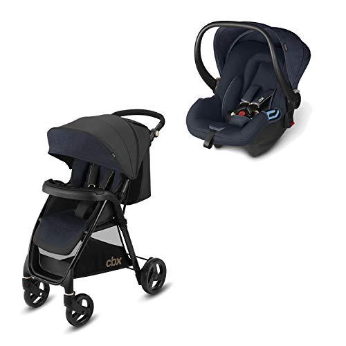 Cbx Travel System 2 en 1 - Cochecito Misu TS + silla de coche Shima, con cubierta para lluvia y adaptador para silla de coche, desde el nacimiento, Jeansy Blue