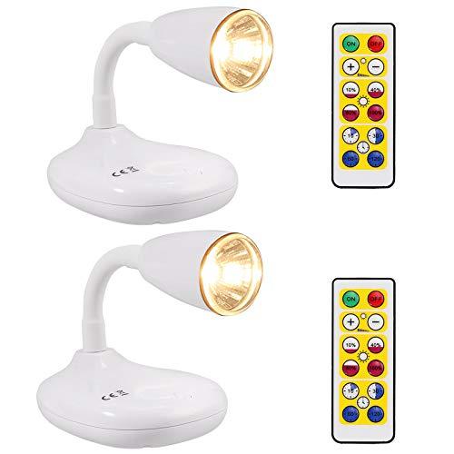 Justech 2PCs LED Focos Inalámbricos de 2 Modos de Control de Control Remoto y Botón con Base Magnética Luces de Pantalla a Pilas con Temporizador Focos de Acento Giratorios de 360° - Blanco Cálido