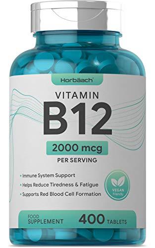 Vitamin B12 2000mcg | 400 Vegan Tablets | Reduction of Tiredness & Fatigue | Non-GMO, Gluten Free Supplement