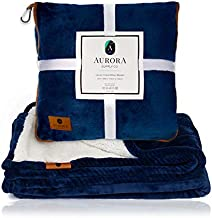Aurora Luxury Travel Blanket - Airplane & Car 4 in 1 Soft, Warm Sherpa & Fleece Blanket with Plush Pillow Case, Secret Pocket, Clip & Luggage Belt. Perfect for Any Type of Travel.