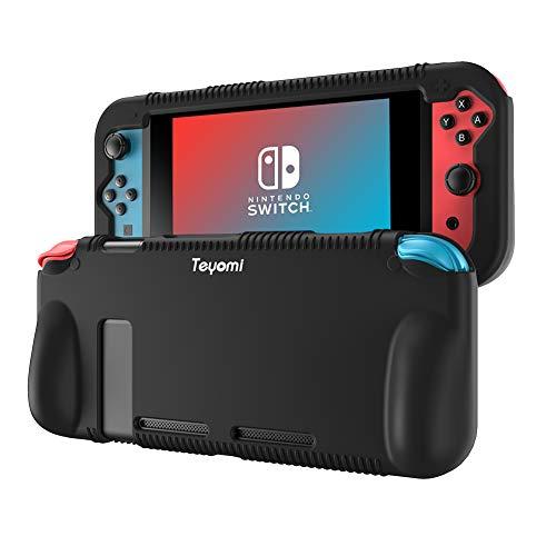Teyomi Custodia Per Nintendo Switch, Cover Protettiva per Custodia in Silicone con 2 Fessure per Carte Da Gioco, Assorbimento Degli Urti e Antigraffio (Nero)