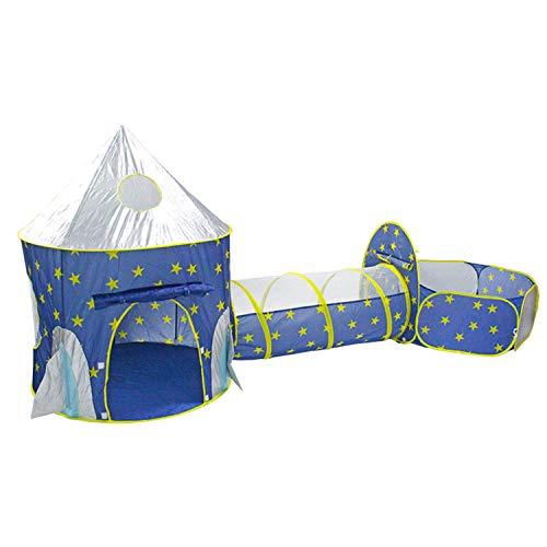 Tienda de juegos para niños con nave espacial de 3 piezas, túnel de rastreo TITIFIVE y hoyo de bolas con aro de baloncesto para niños, niñas, niños pequeños, casa de juegos para interiores y exteriores, tienda de campaña emergente (azul)