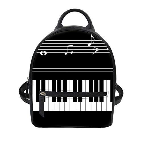 QIANHEDAMAI Vrouwen Kleine Rugzak Muziek Piano Toetsenbord Print Knapzak Pu Leer Dubbele Schouder Tas 3D Digitaal Drukken Rugzak Teen Meisje Rugzak