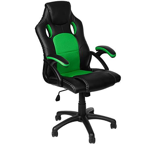 Panorama24 Gamer Stuhl Gaming Schreibtischstuhl Chefsessel Bürostuhl Ergonomisch, Grün, 9 Farbvarianten, gepolsterte Armlehnen, Wippmechanik, belastbar bis 150 kg, Lift TÜV geprüft